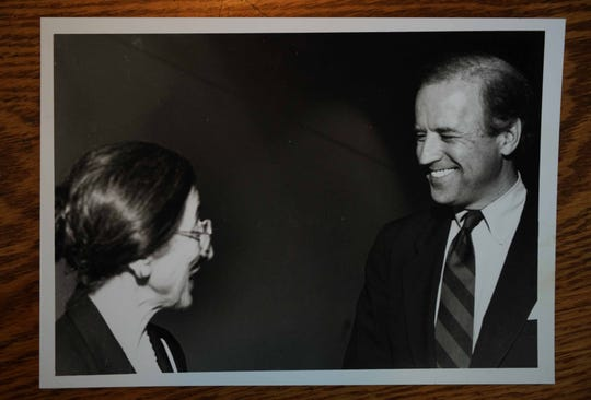 Sonia Sloan appears with Joe Biden in a photograph from earlier years in his political career.