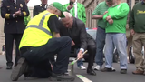 Officials and members of Wilmington's Irish community painted Market St. green ahead of tomorrow's St. Patrick's Day parade.  3/15/19