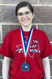 Electra's Sealeigh Ramsey was second at the girls state powerlifting meet on Friday.