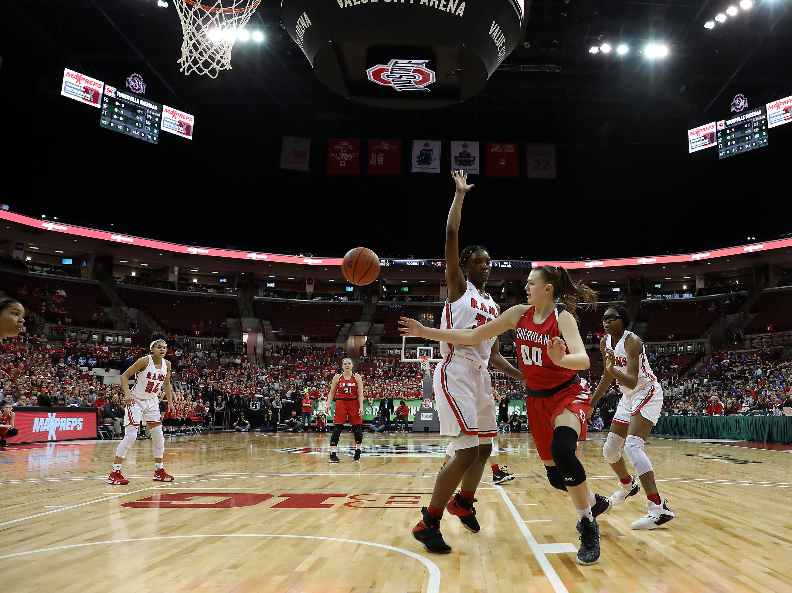 Sheridan's Faith Stinson passes the ball against Toledo Rogers during the DII state semis in Columbus on Thursday.