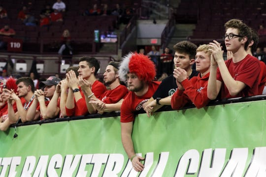 Sheridan fans watch the closing minutes of Sheridan's Division II state semifinal loss to Toledo Rogers Thursday.