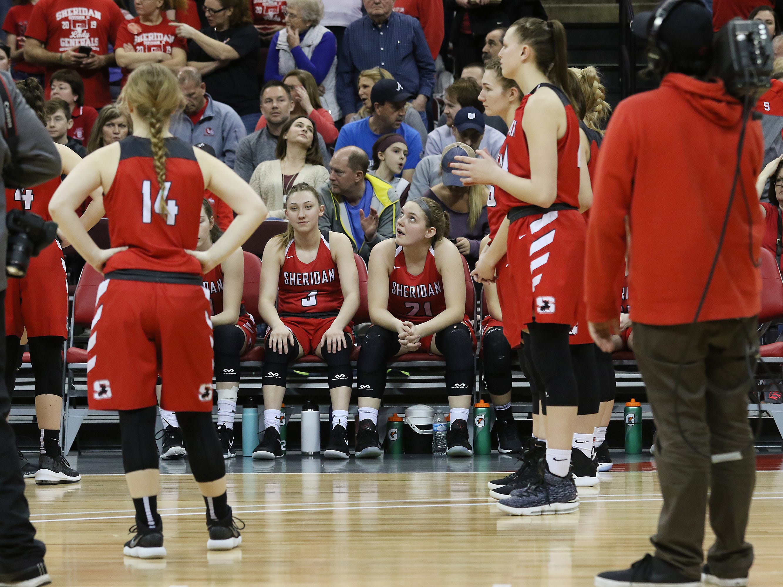 Sheridan waits to be introduced before the D2 state semis in Columbus.