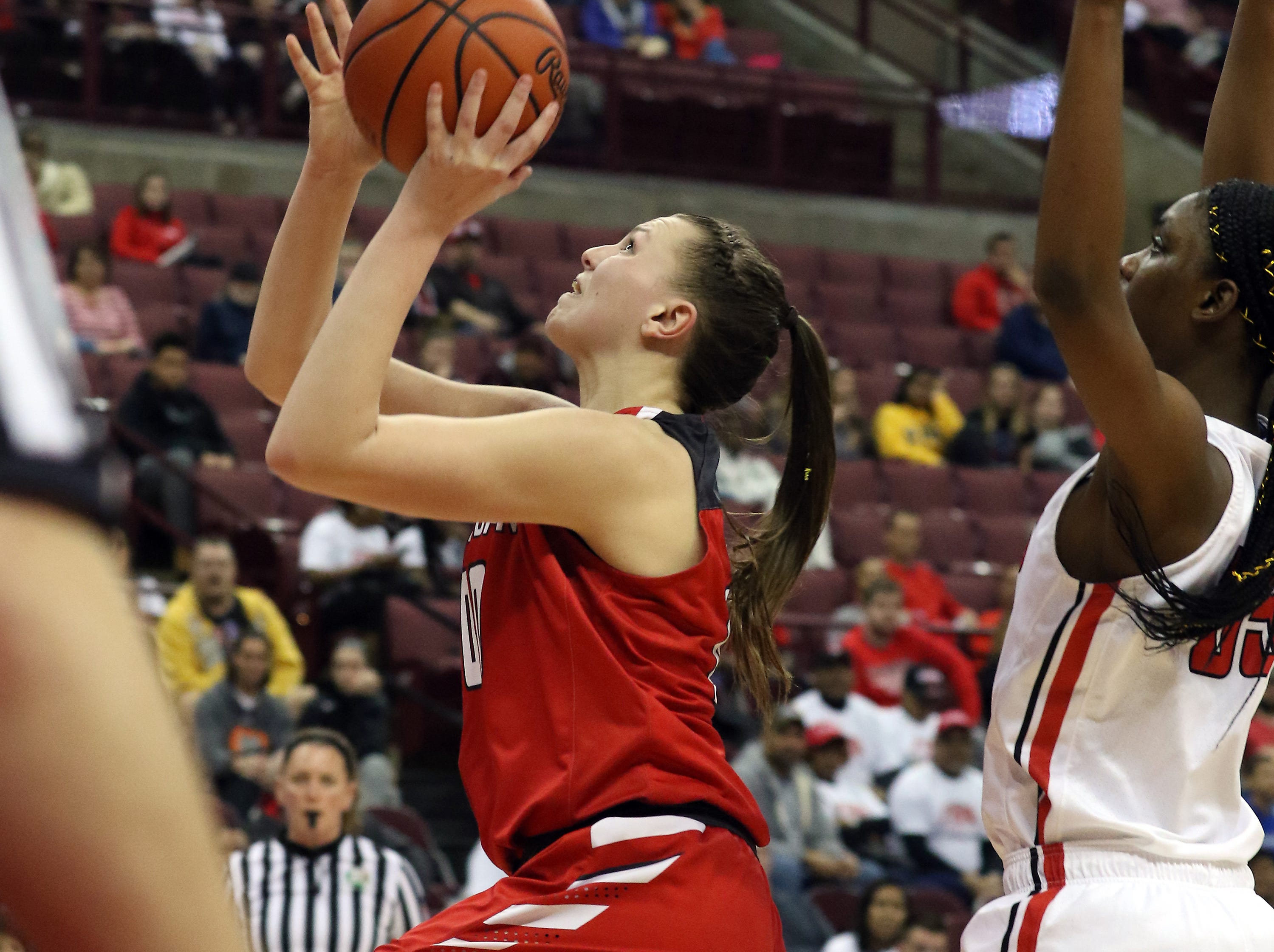 Sheridan's Faith Stinson puts up a shot against Toledo Rogers during the DII state semis in Columbus on Thursday.