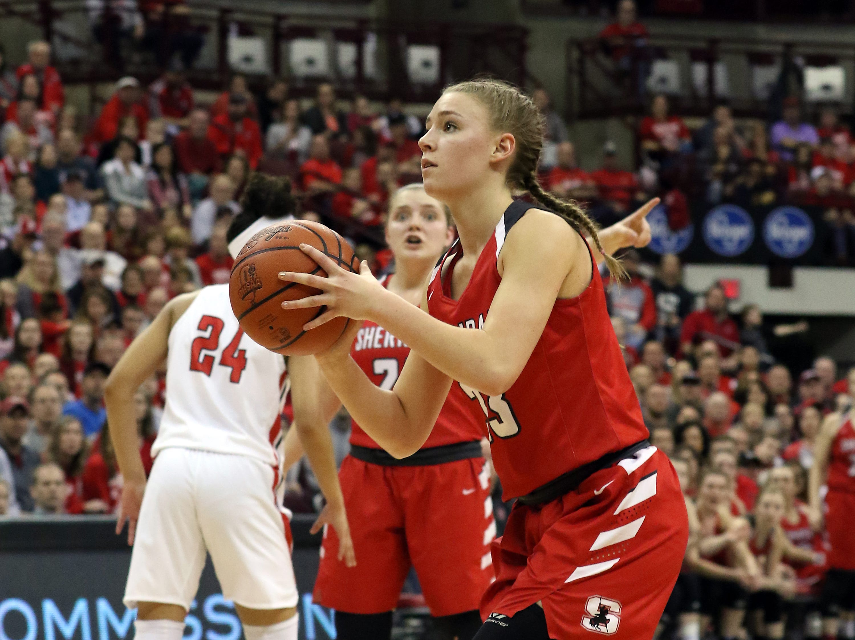 Sheridan's Emma Conrad takes aim against Toledo Rogers during the DII state semis in Columbus on Thursday.