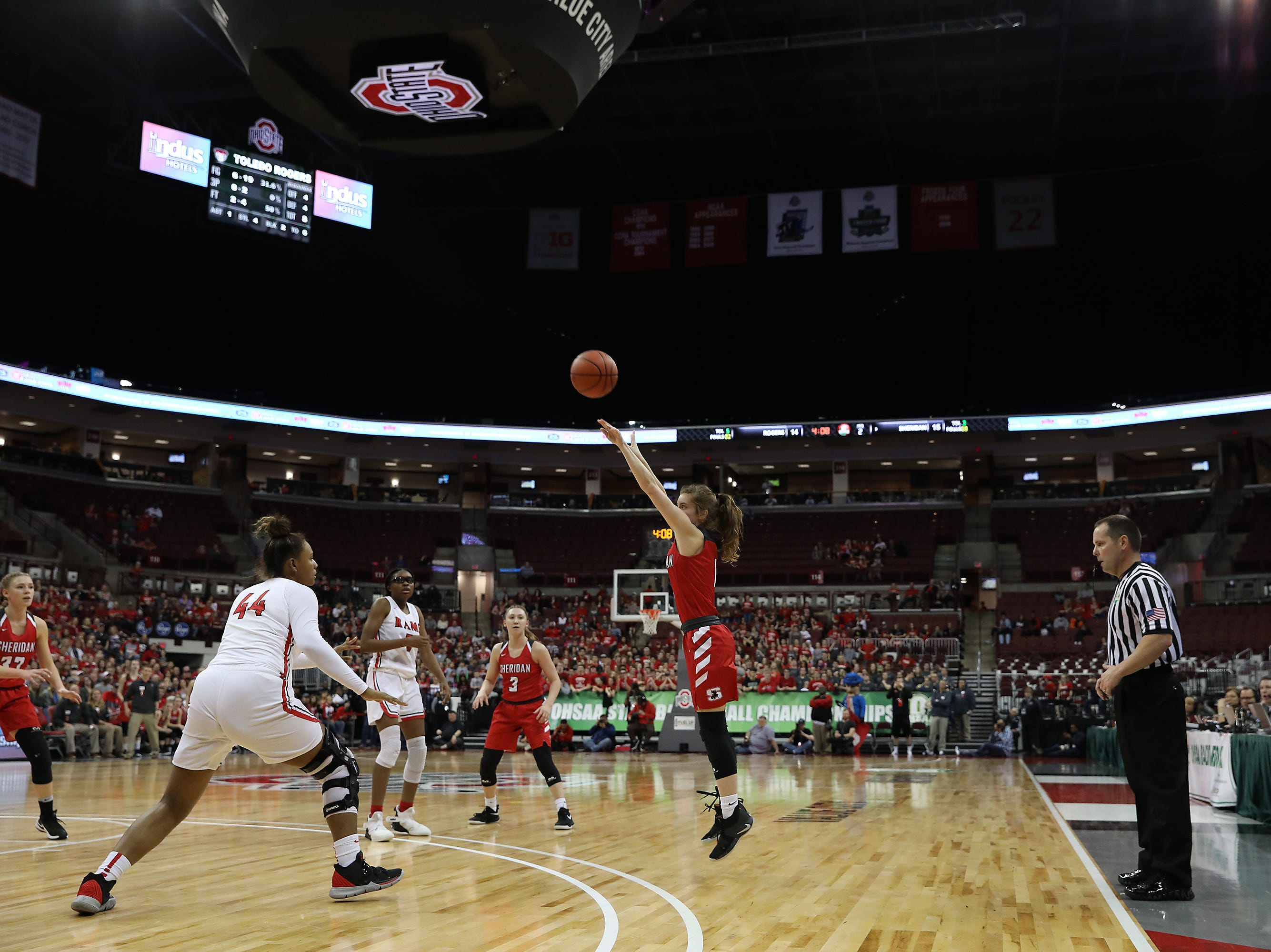 Sheridan's Aubrie White puts up a three against Toledo Rogers during the DII state semis in Columbus on Thursday.