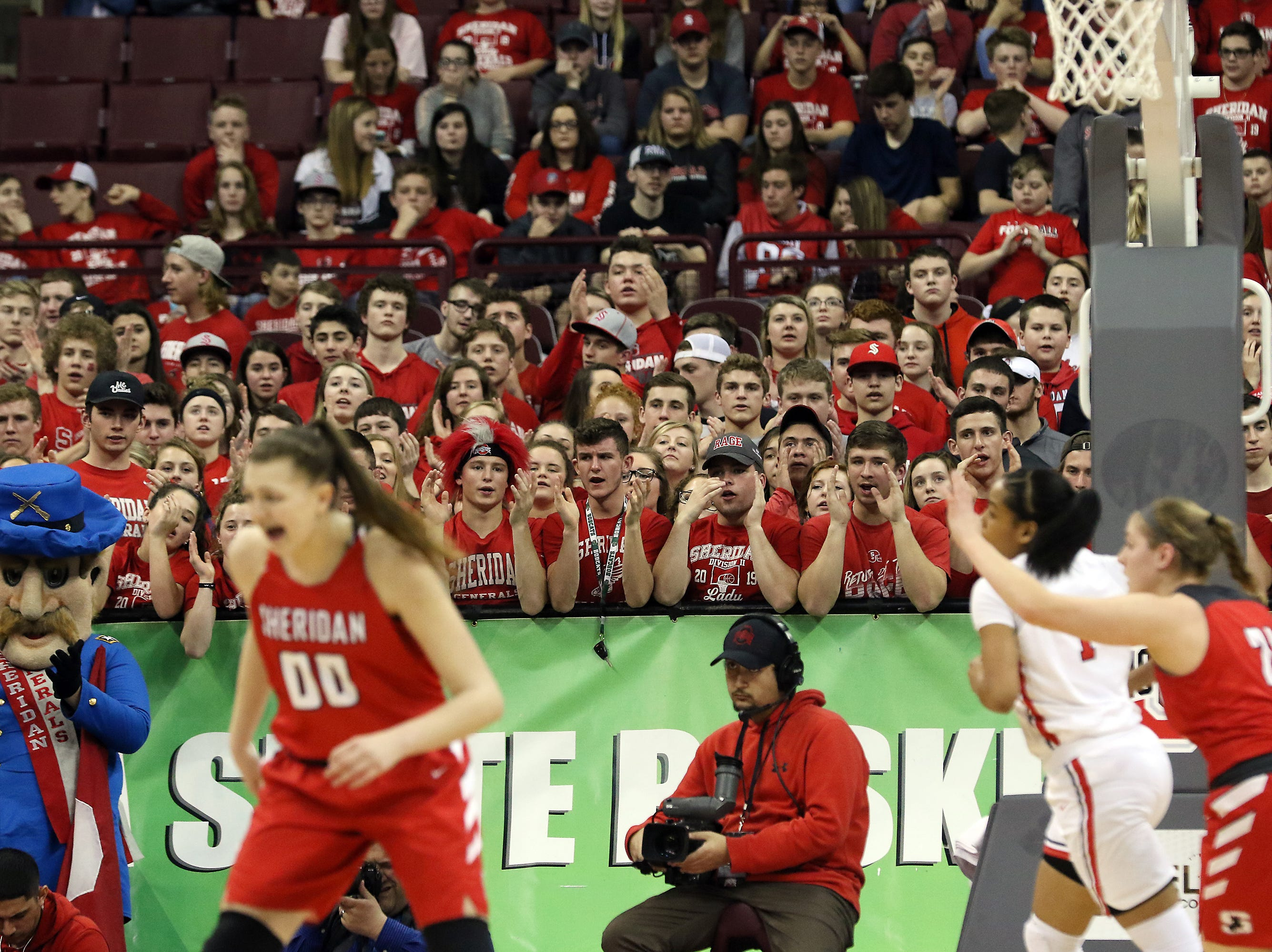 Sheridna fans cheer during the DII state semis in Columbus on Thursday.
