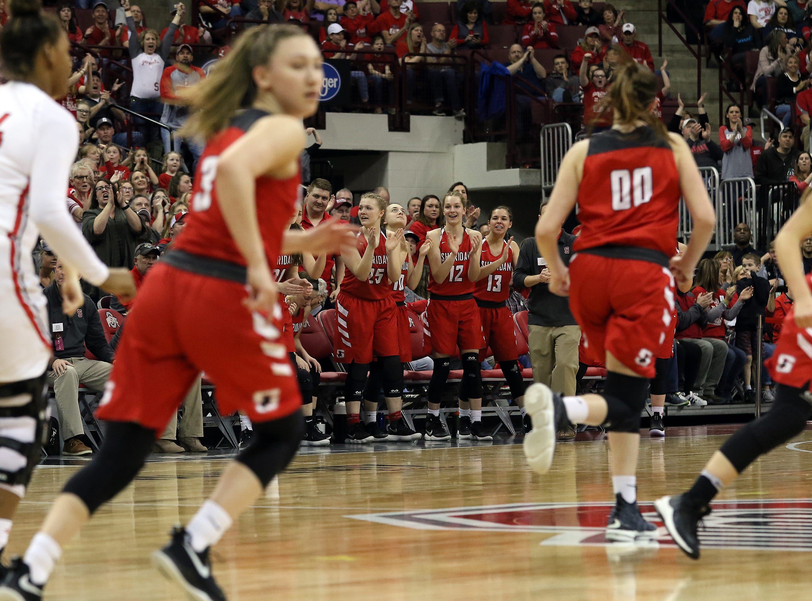 Sheridan celebrates a play against Toledo Rogers during the DII state semis in Columbus on Thursday.