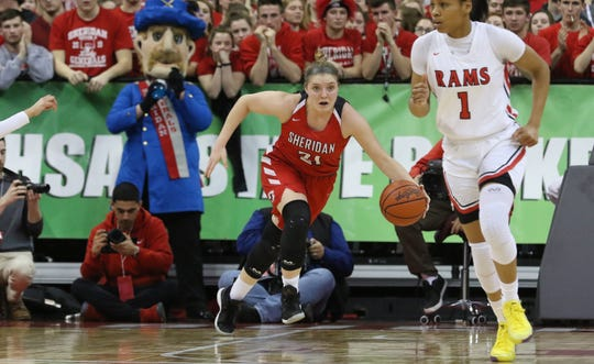 Sheridan's Kendyl Mick brings the ball up the court against Toledo Rogers during a Division II state semifinal last season at Ohio State's Value City Arena. Mick signed with Findlay on Friday.