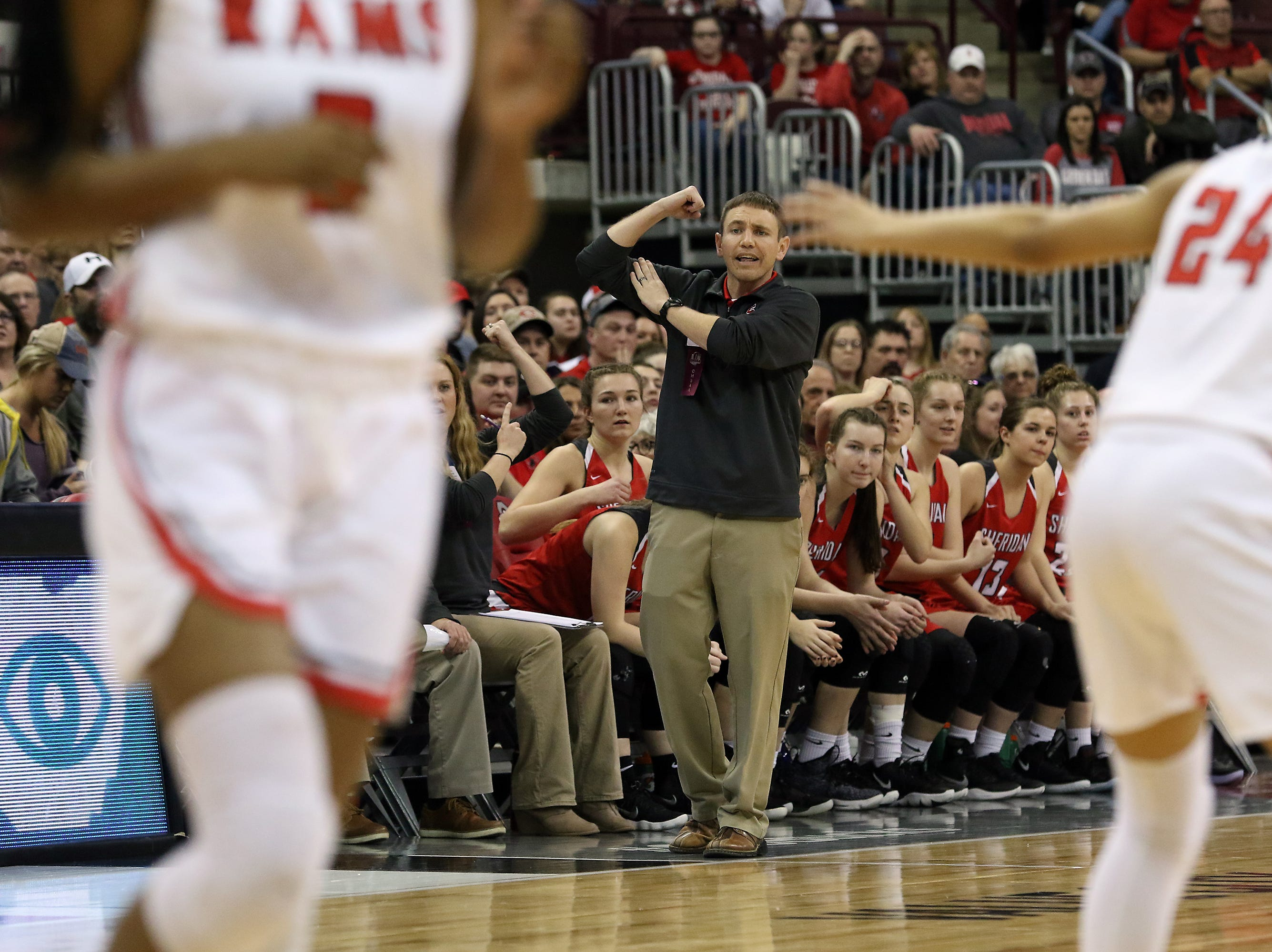 Sheridan head coach J.D. Walters calls a play in the Division II state semis against Toledo Rogers.