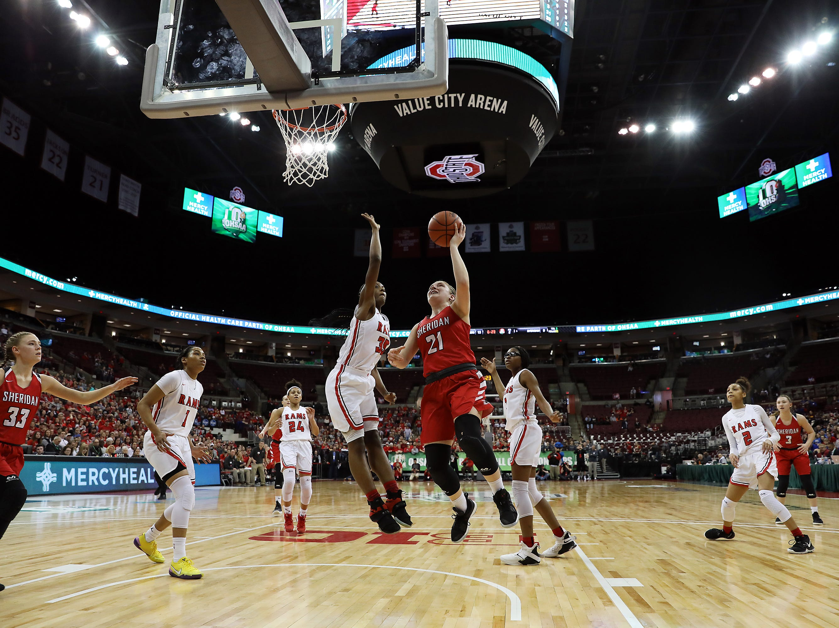 Sheridan's Kendyl Mick puts up a shot against Toledo Rogers during the DII state semis in Columbus on Thursday.