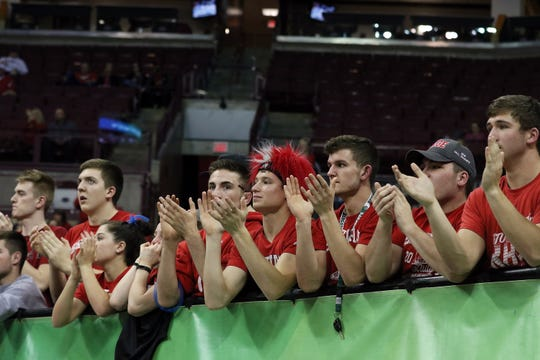 Sheridan fans cheer as the Generals play against Toledo Rogers during the DII state semis in Columbus on Thursday.