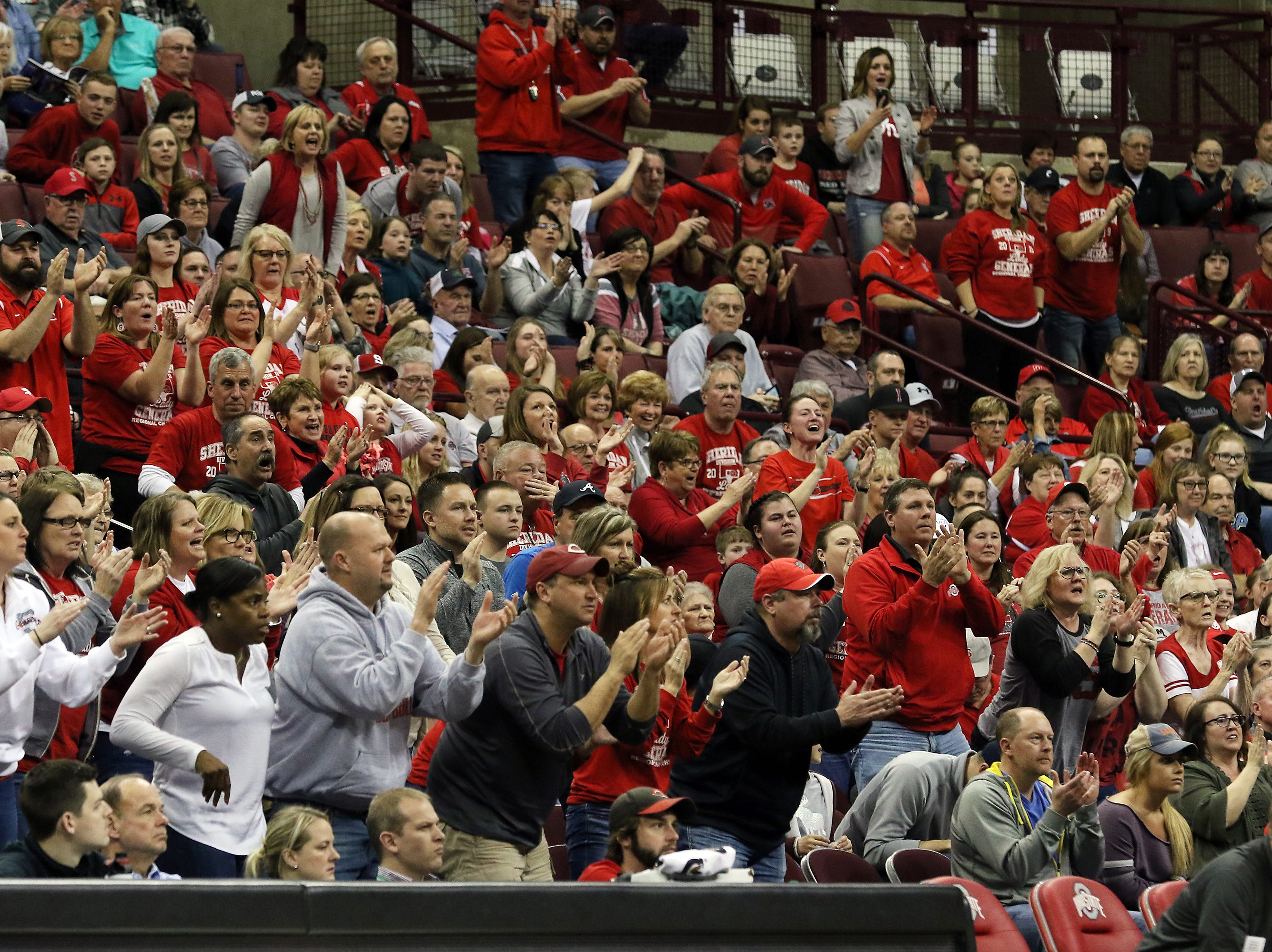 Sheridan fans during the DII state semis in Columbus on Thursday.