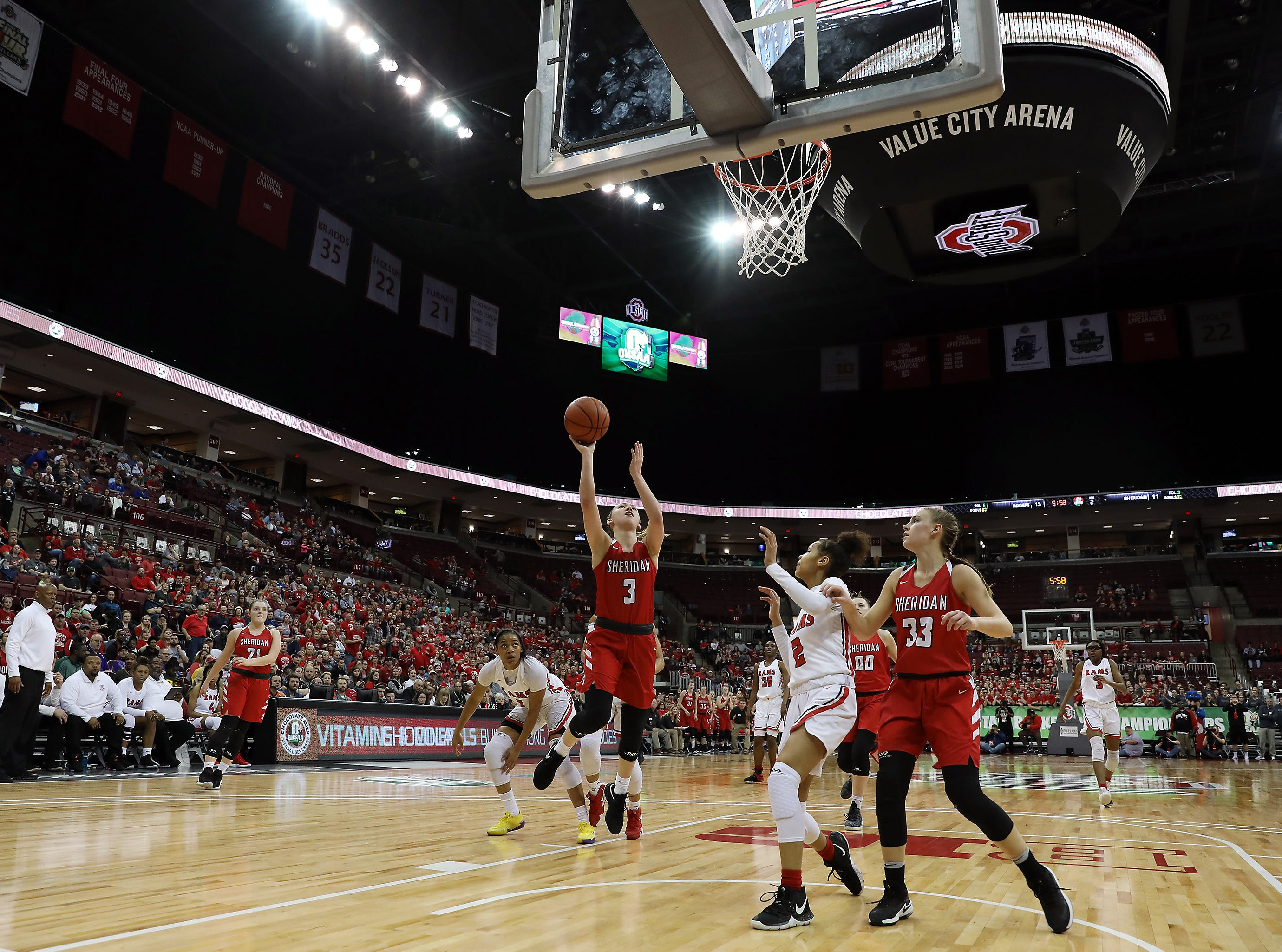 Sheridan's Bailey Beckstedt puts up a shot against Toledo Rogers during the DII state semis in Columbus on Thursday.
