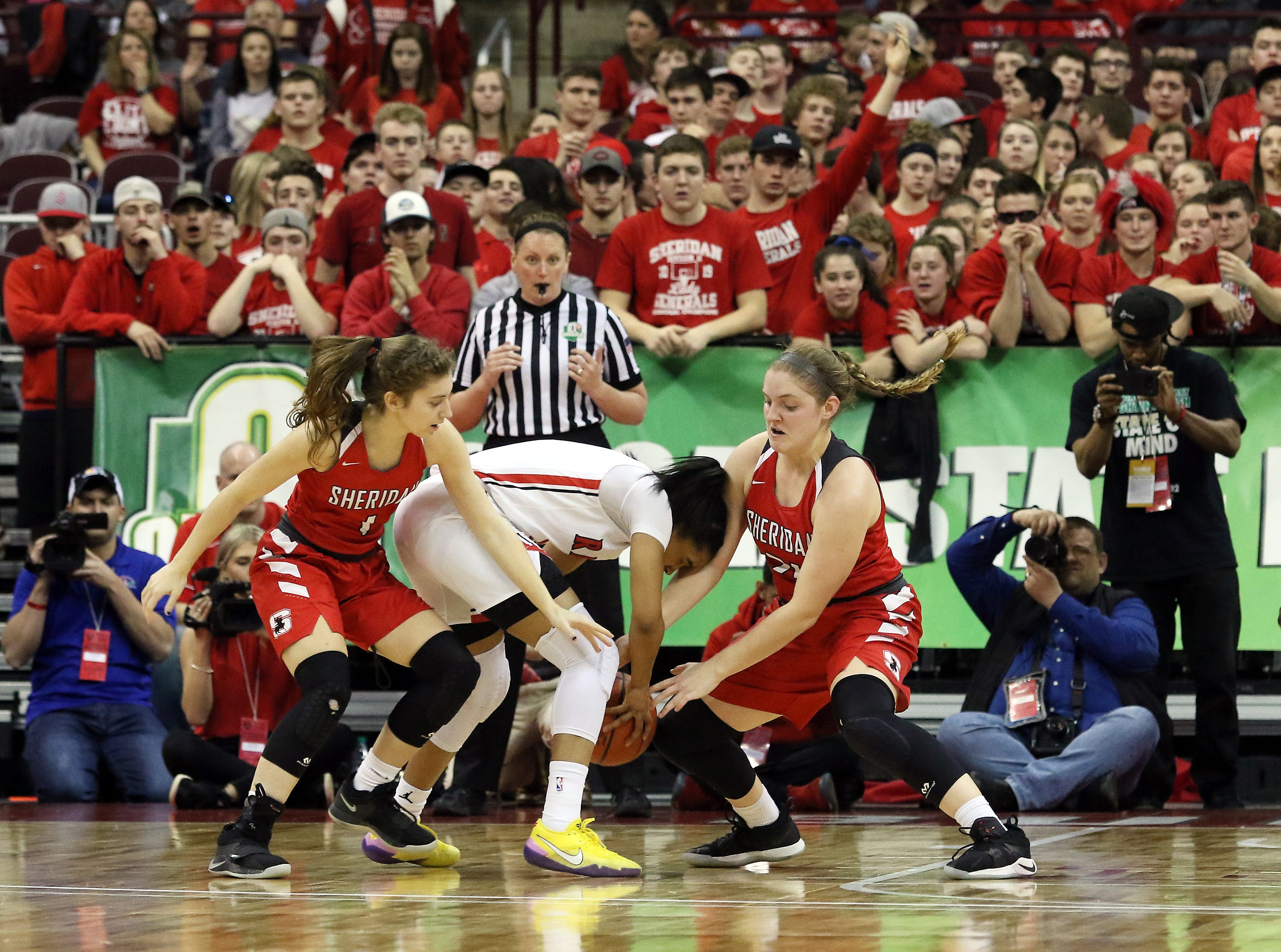 Sheridan's Aubrie White and Kendyl Mick defend against Toledo Rogers during the DII state semis in Columbus on Thursday.
