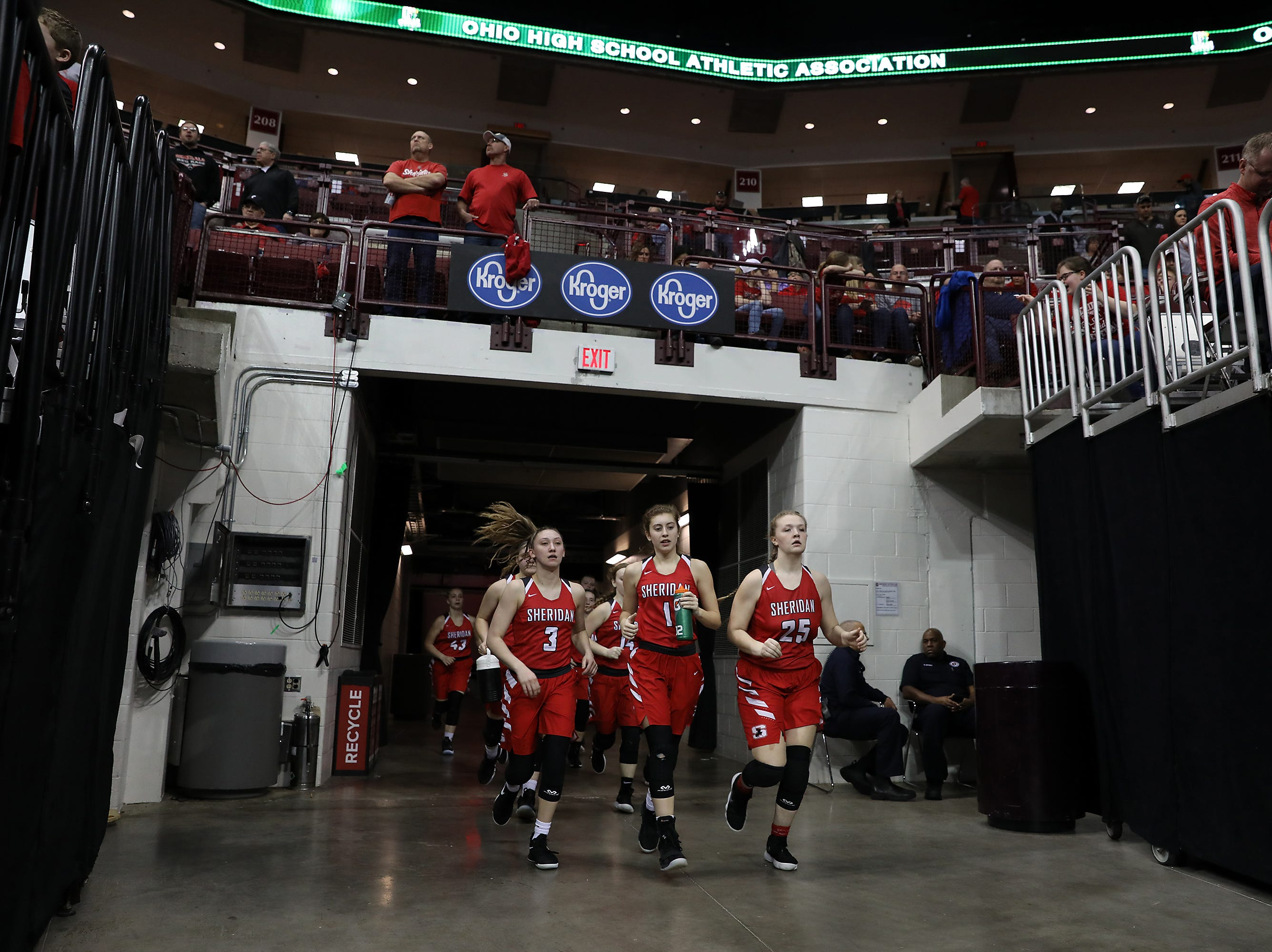 Sheridan returns to the court for the second half of the DII state semis in Columbus on Thursday.
