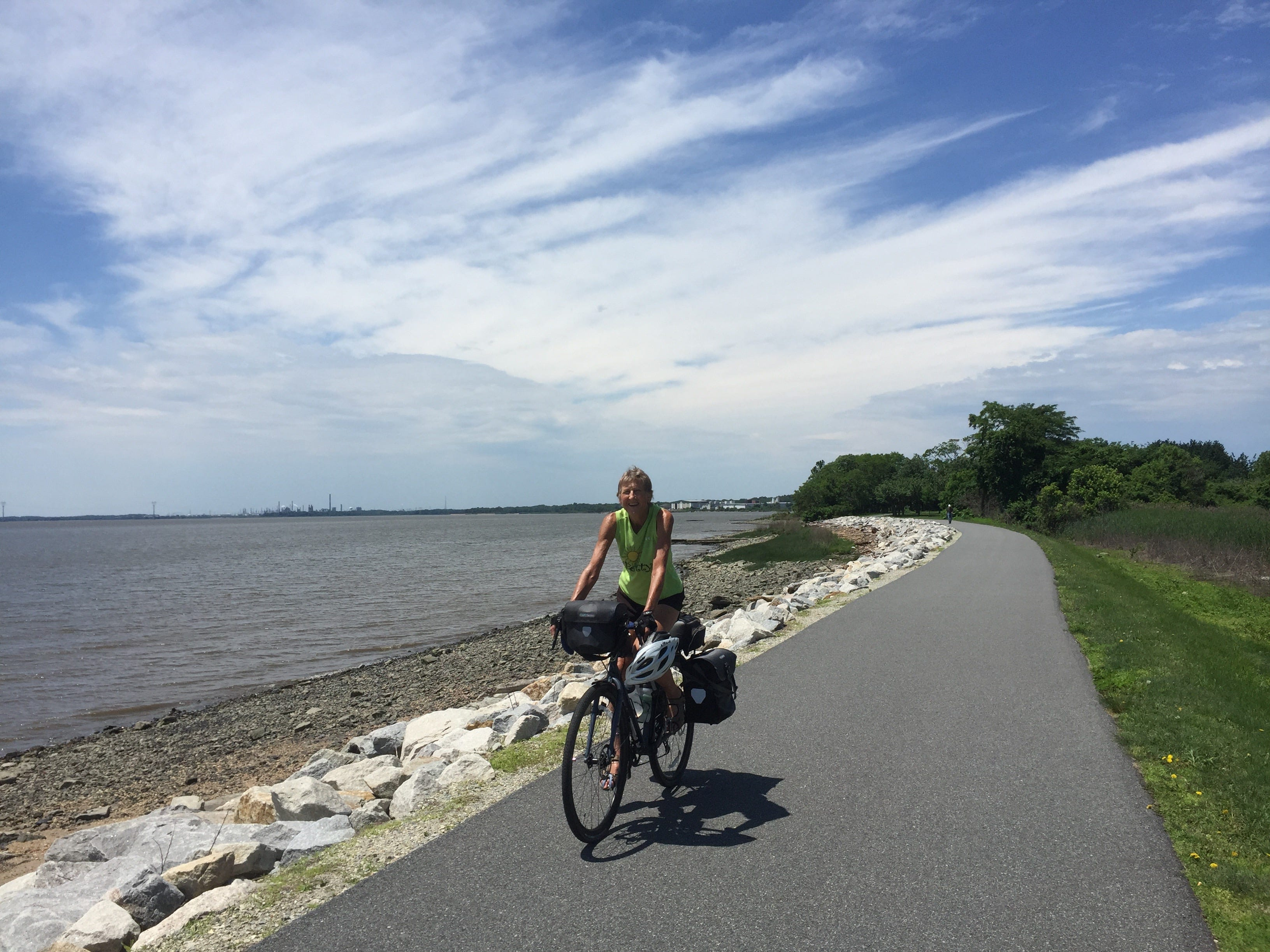 In New Castle, Delaware, there's a beautiful stretch of greenway along the Delaware River.