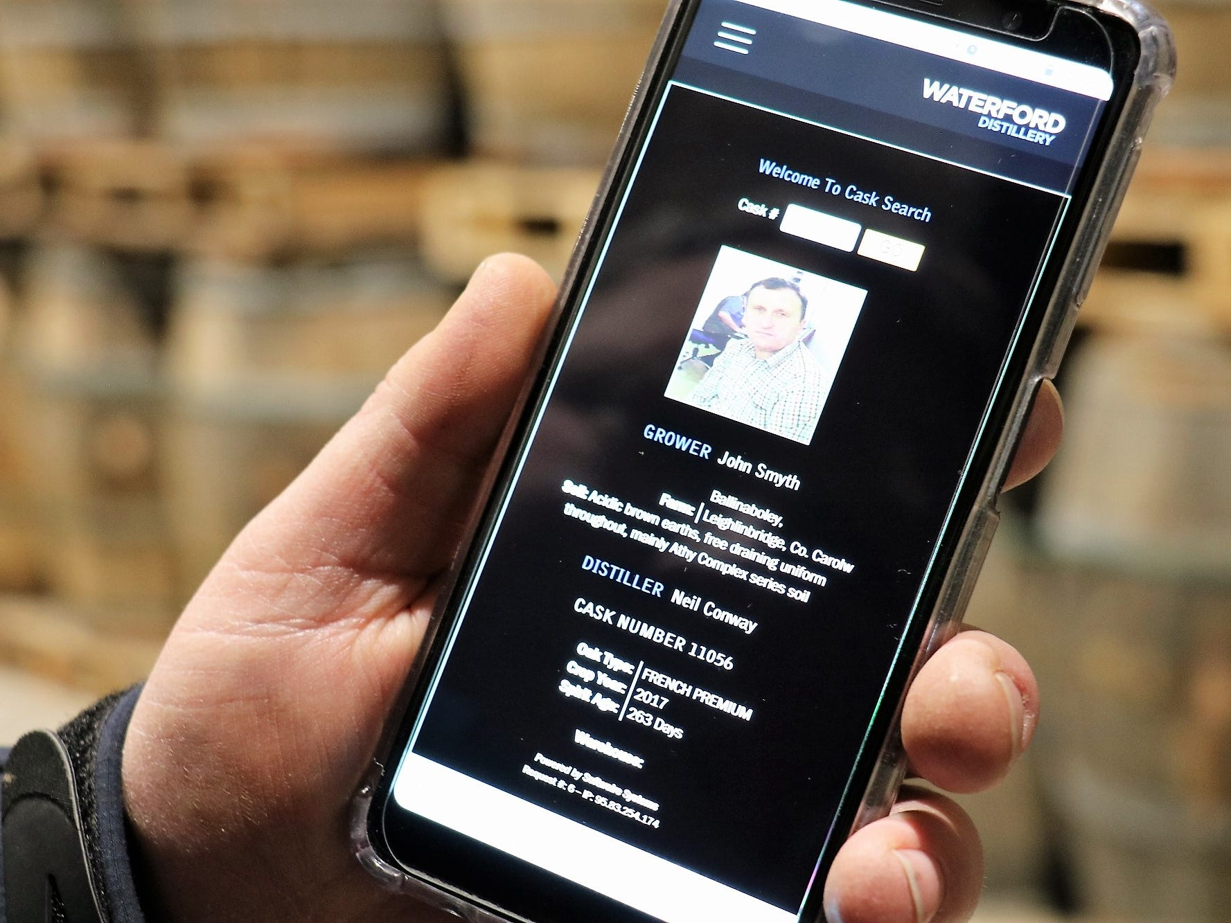 "Head distiller Ned Gahan shows what he can access from his phone by scanning each barrel's bar code, or by directly inputting a cask's number. This data still only scratches the surface of what's available in each ""passport."""