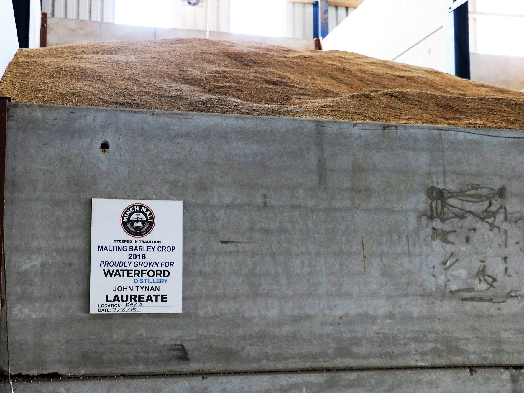 """This is Waterford's """"cathedral,"""" where grain is dried and stored after harvest, before being sent to the maltster. With each batch of whiskey being made from a distinct batch of barley, it's essential to keep everything separated and properly tracked. """"There is unequivocal traceability,"""" Reynier says."""
