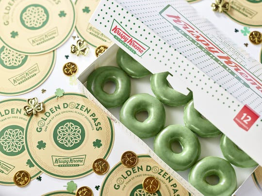 Krispy Kreme's original doughnuts are green March 15-17.