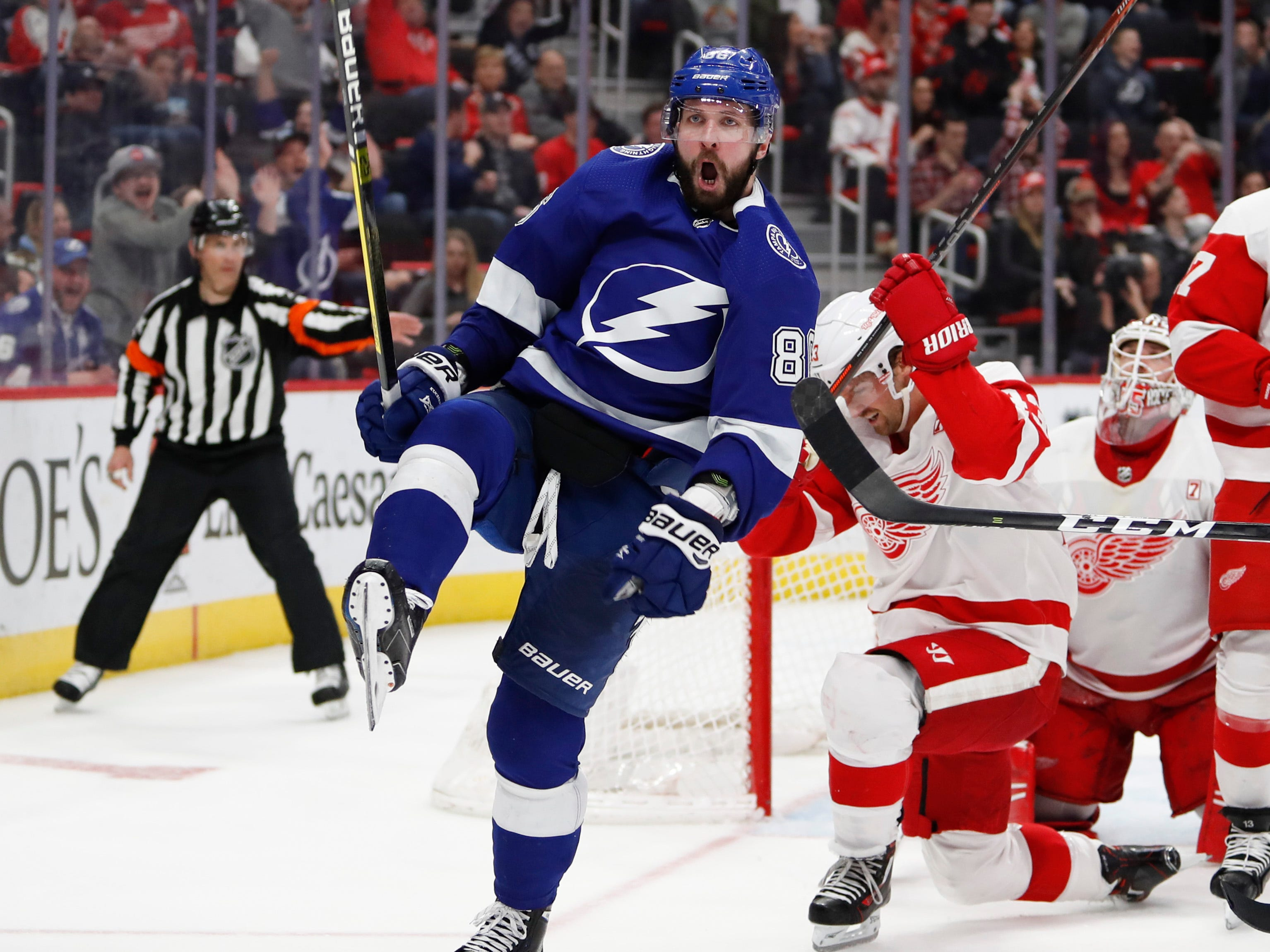 March 14: Tampa Bay RW Nikita Kucherov (86) celebrates after scoring the go-ahead goal against in the third period. The Lightning rallied for a 5-4 win over the Detroit Red Wings.