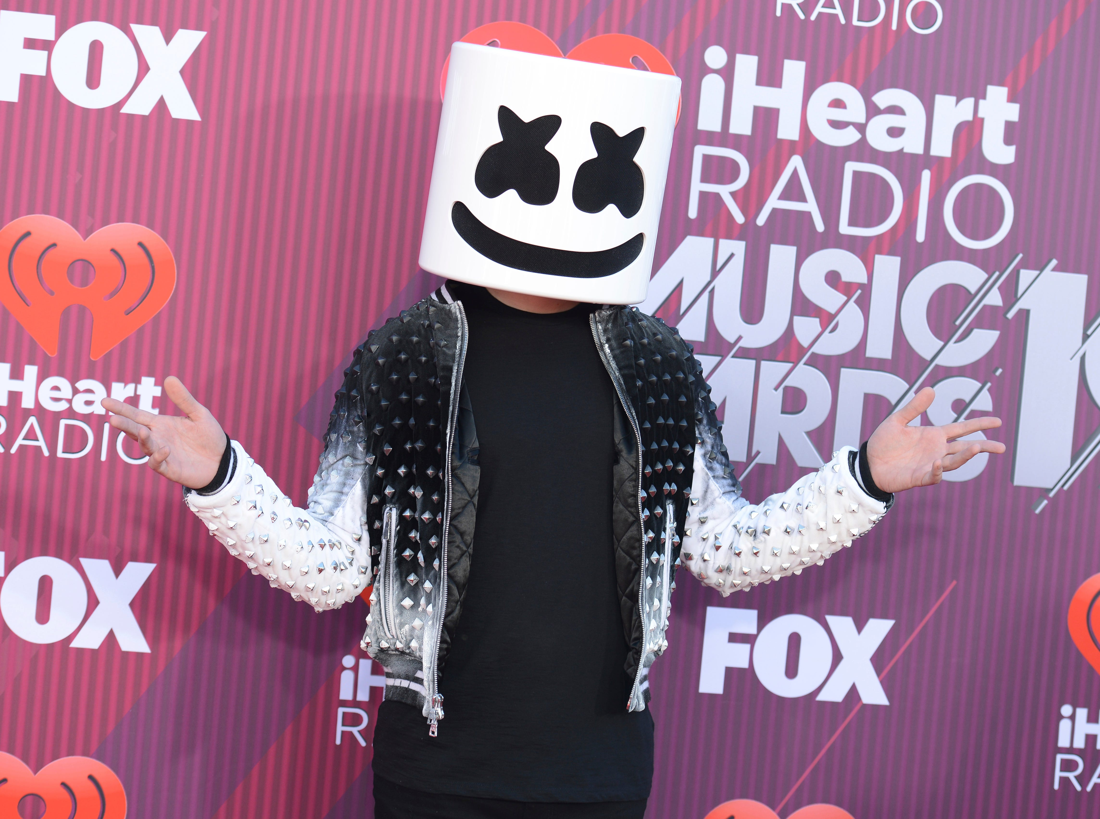 Marshmello arrives at the iHeartRadio Music Awards.