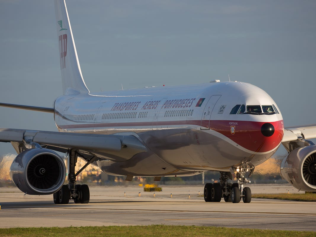 TAP Air Portugal's gorgeous retro-painted Airbus A330 taxis out for departure from Miami International Airport on Feb. 23, 2019.