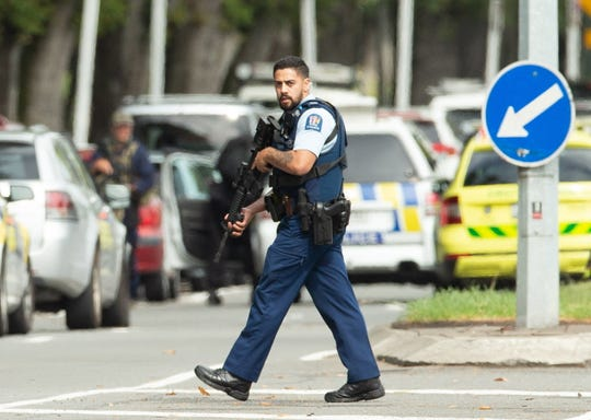 Armed police patrol following a shooting at a mosque in Christchurch, New Zealand, on March 15, 2019.