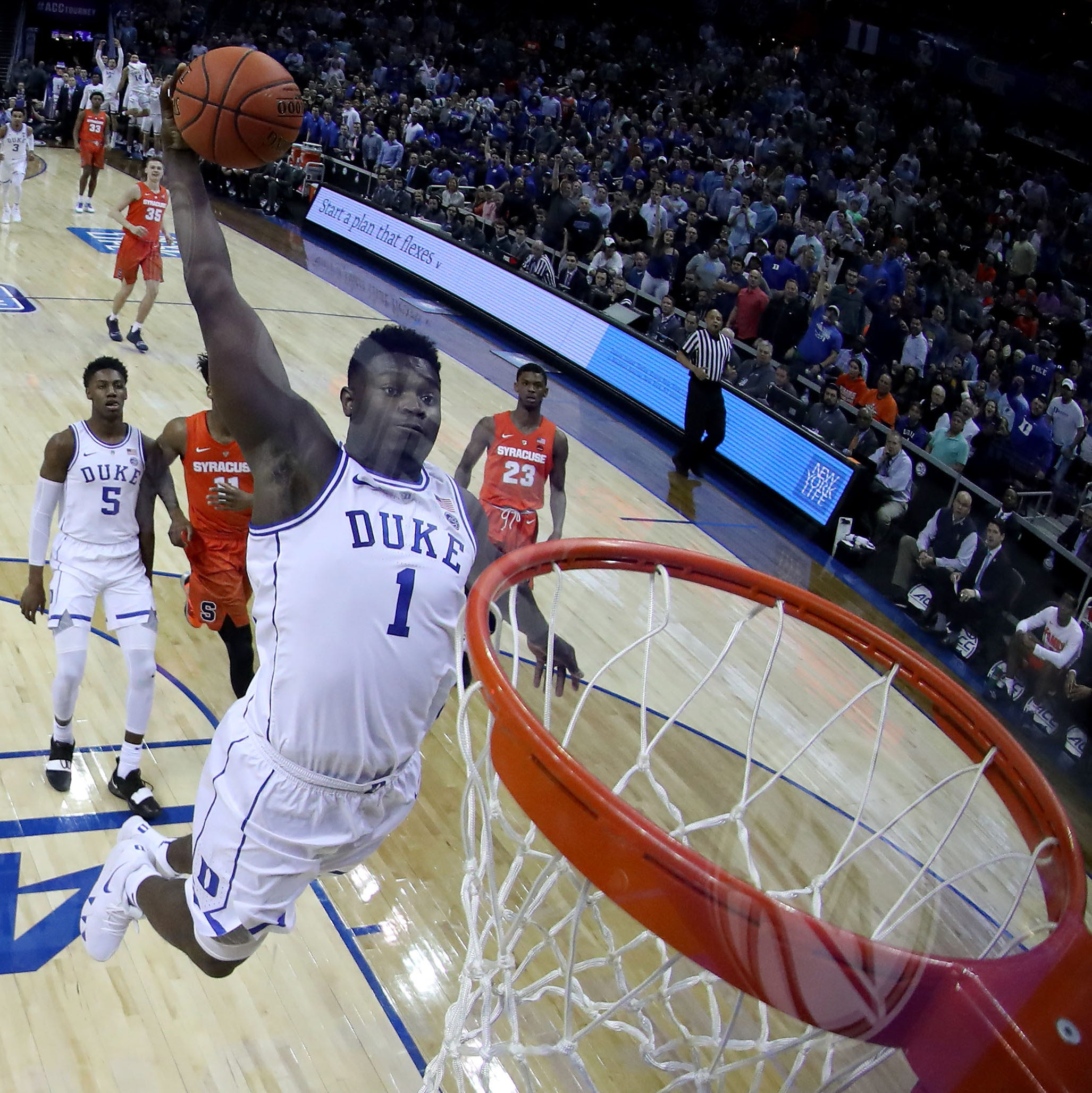 Zion Williamson dunks the ball in the ACC tournament quarterfinal game against Syracuse at Spectrum Center in Charlotte.