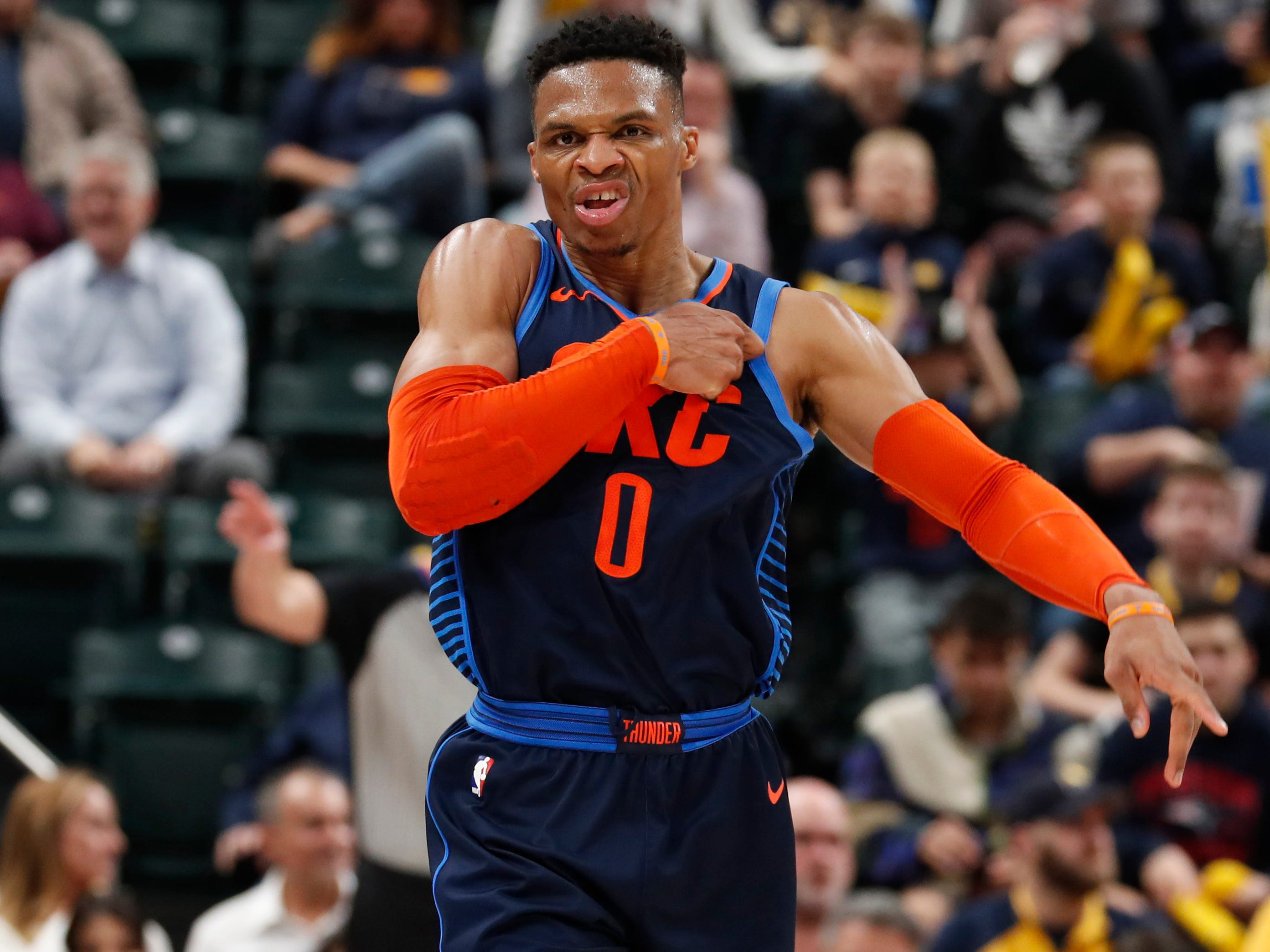 100. Russell Westbrook, Thunder (March 14): 19 points, 14 rebounds, 11 assists in 108-106 loss to Pacers (27th of season).