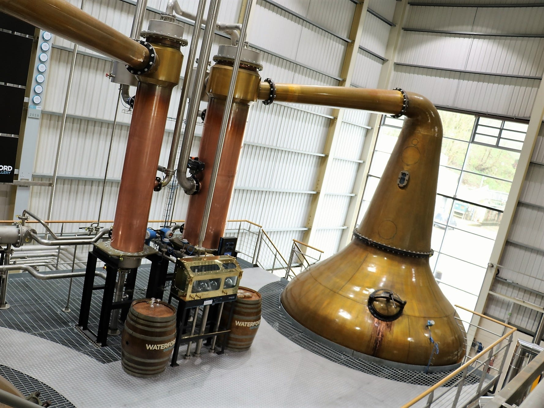 Waterford uses a set of copper pot stills manufactured by Forsyths, and follows a double-distillation system, as opposed to the triple distillation more common in Ireland. The stills had a circuitous journey to the distillery, residing first at Inverleven Distillery and then Bruichladdich, prior to being fixed up by Forsyths.