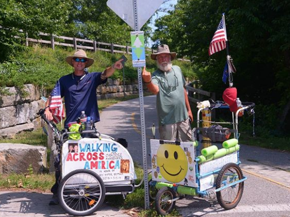 Brett Bramble, who lost his sister to a drug overdose, completed a six-month walk of the entire greenway in 2018 to raise awareness of the opioid epidemic. Bramble and his two companions (Domino, a Labrador mix, and John Azerolo, who turned 60 on the journey) were the first to walk the entire route in a single trip, covering roughly 20 miles each day.