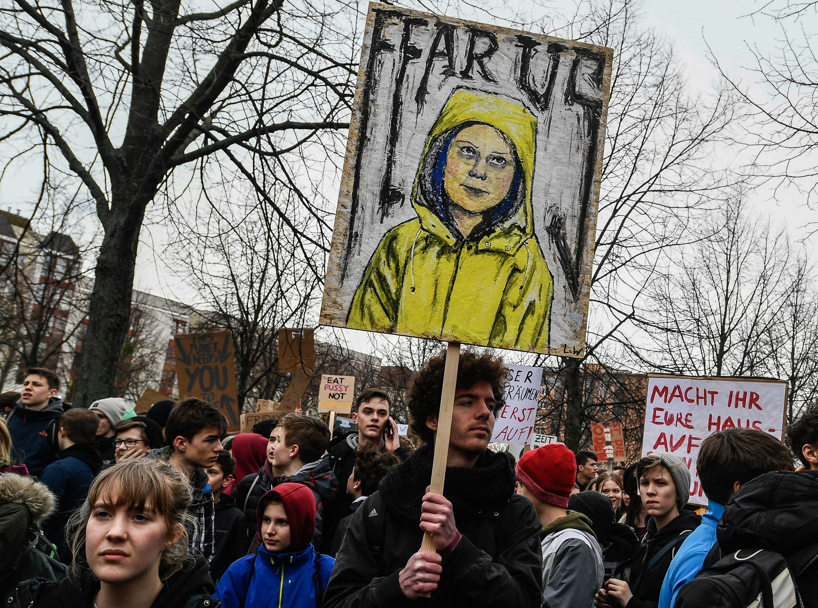 Students takes part in a demonstration against climate change, in Dresden, Germany on March 15, 2019.