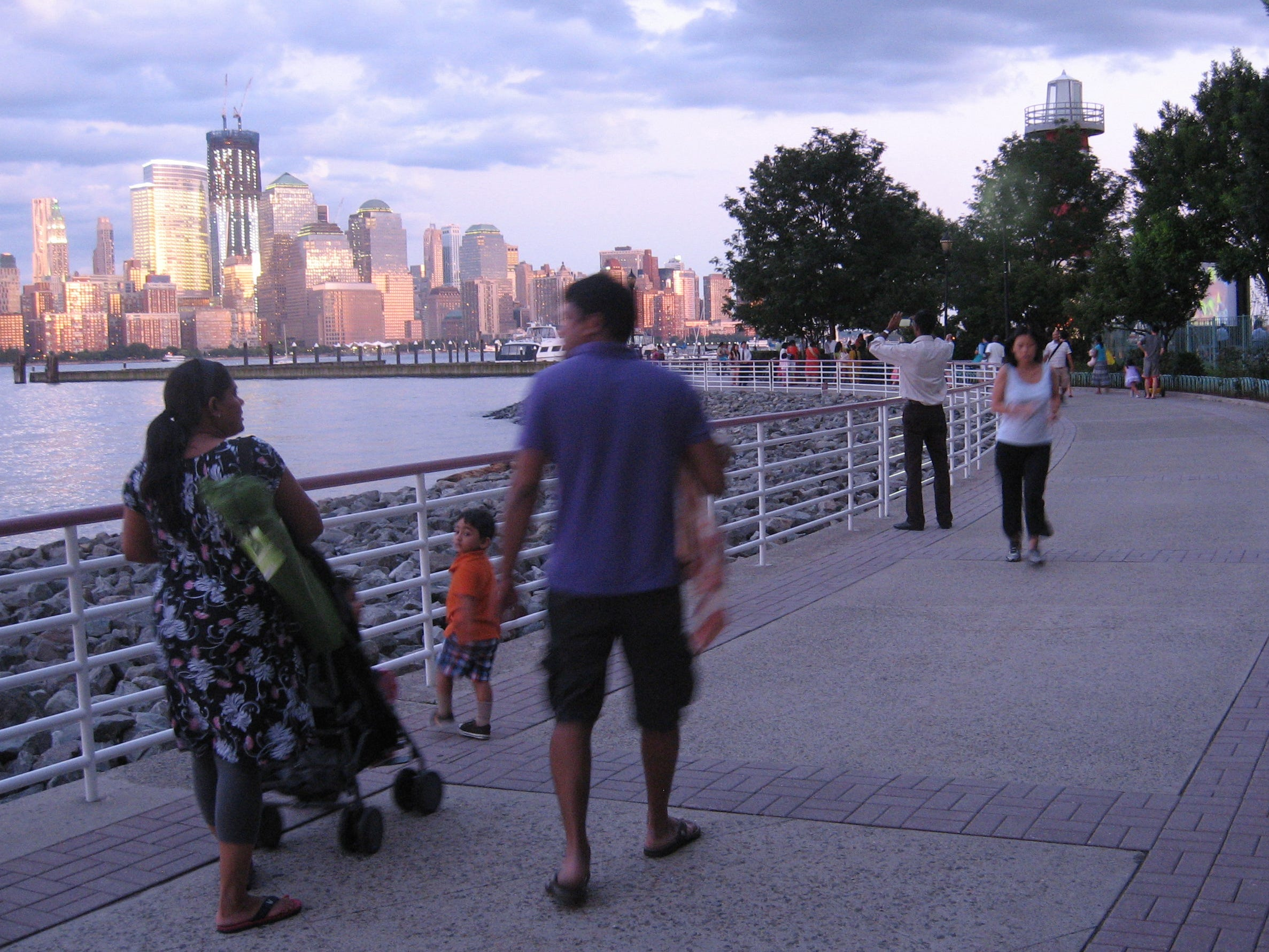The Hudson River Waterfront Walkway in New Jersey is perfect for a family stroll.