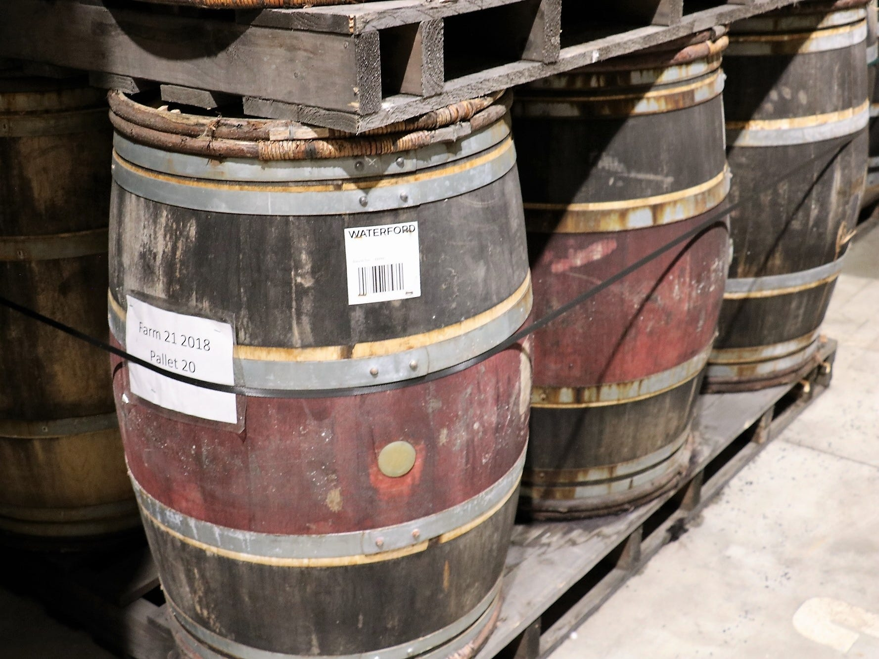 "Casks from different sources showcase distinctive styles and colors. The bar code on each barrel isn't merely used for keeping track of placement or dates, but also offers an instant look at the vast store of data tracked for every batch. ""All of this is for curious people, if you are an inquisitive drinker,"" Newton says."