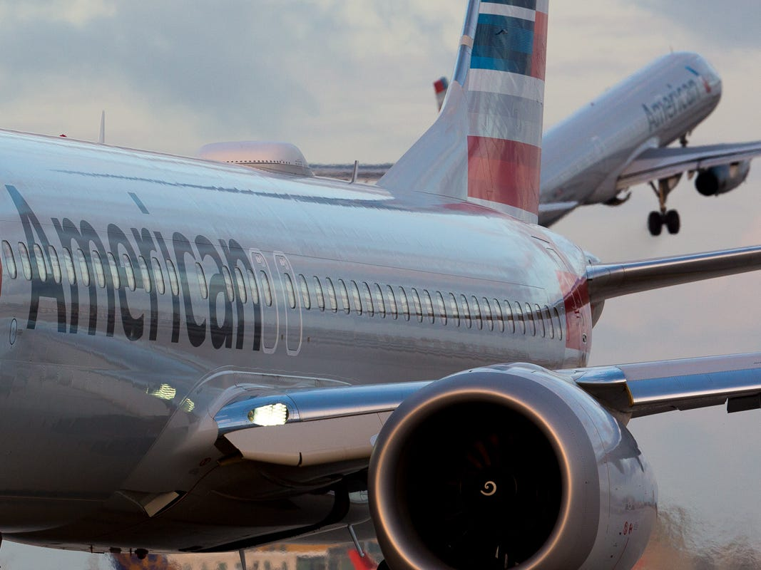 American Airlines jets at Miami International Airport on Feb. 23, 2019.