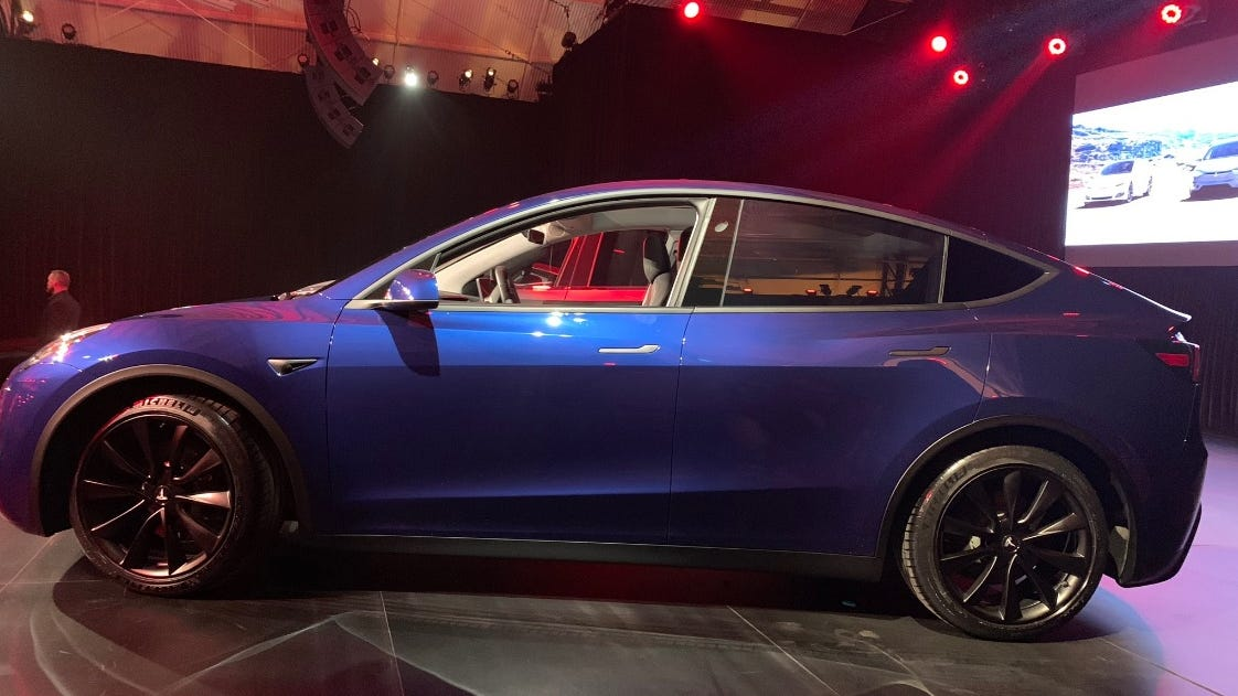 Model Y Photo: Tesla Model Y Revealed: Elon Musk Unveils Electric SUV