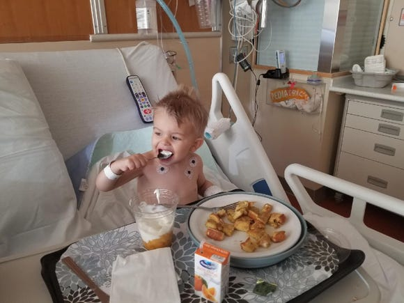 Nash Goddard, 2, had to have popcorn pieces removed from his chest after a choking incident.