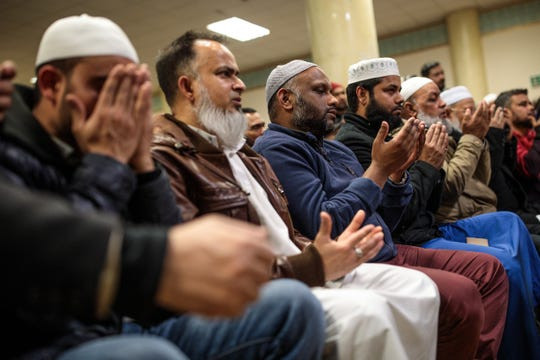 Muslims attend a vigil at the East London Mosque for the victims of the New Zealand mosque attacks on March 15, 2019 in London, England. Patrols have been increased after 49 people were killed in mass shootings at two mosques in central Christchurch, New Zealand, on Friday.
