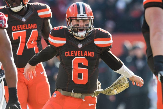 Cleveland Browns quarterback Baker Mayfield (6) celebrates after throwing a touchdown pass during the second half against the Atlanta Falcons at FirstEnergy Stadium.