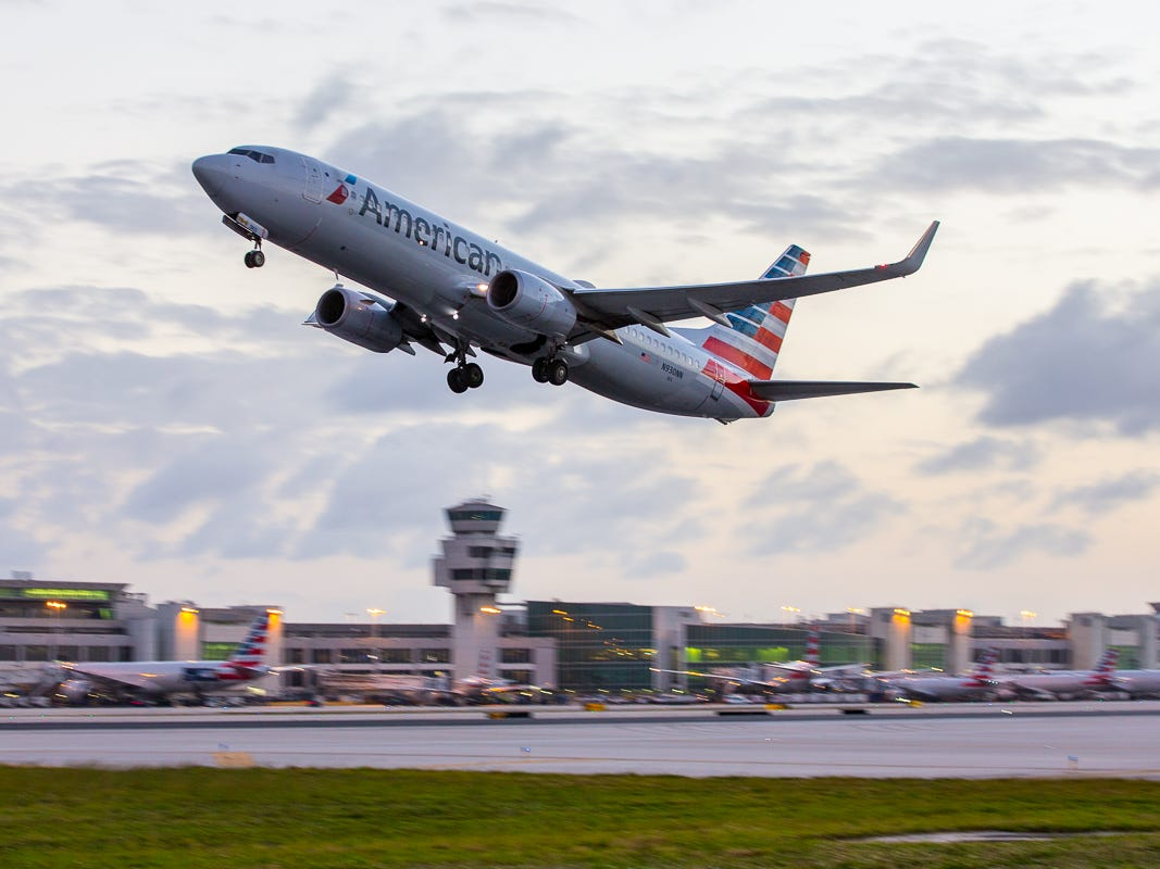An American Airlines Boeing 737-800 takes off from Miami International Airport on Feb. 23, 2019.