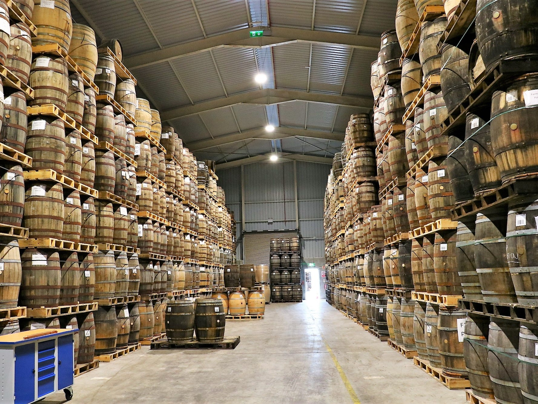 Waterford has amassed a total of approximately 19,000 casks. Each warehouse is designed to hold 7,000, and several new warehouses are currently under construction. The distillery uses a precise ratio of barrels for each batch of spirit: 50 percent ex-bourbon; 20 percent virgin, charred American oak; 15 percent French oak wine casks; and 15 percent ex-Vins Doux Naturels, representing a mix including fortified wines such as sherry, port and Madeira.