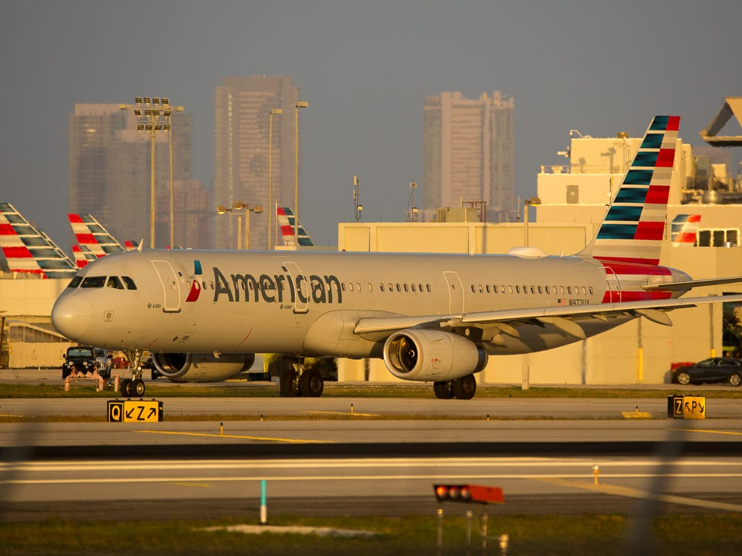 An American Airlines Airbus A321 taxis out for departure from Miami International Airport on Feb. 24, 2019.