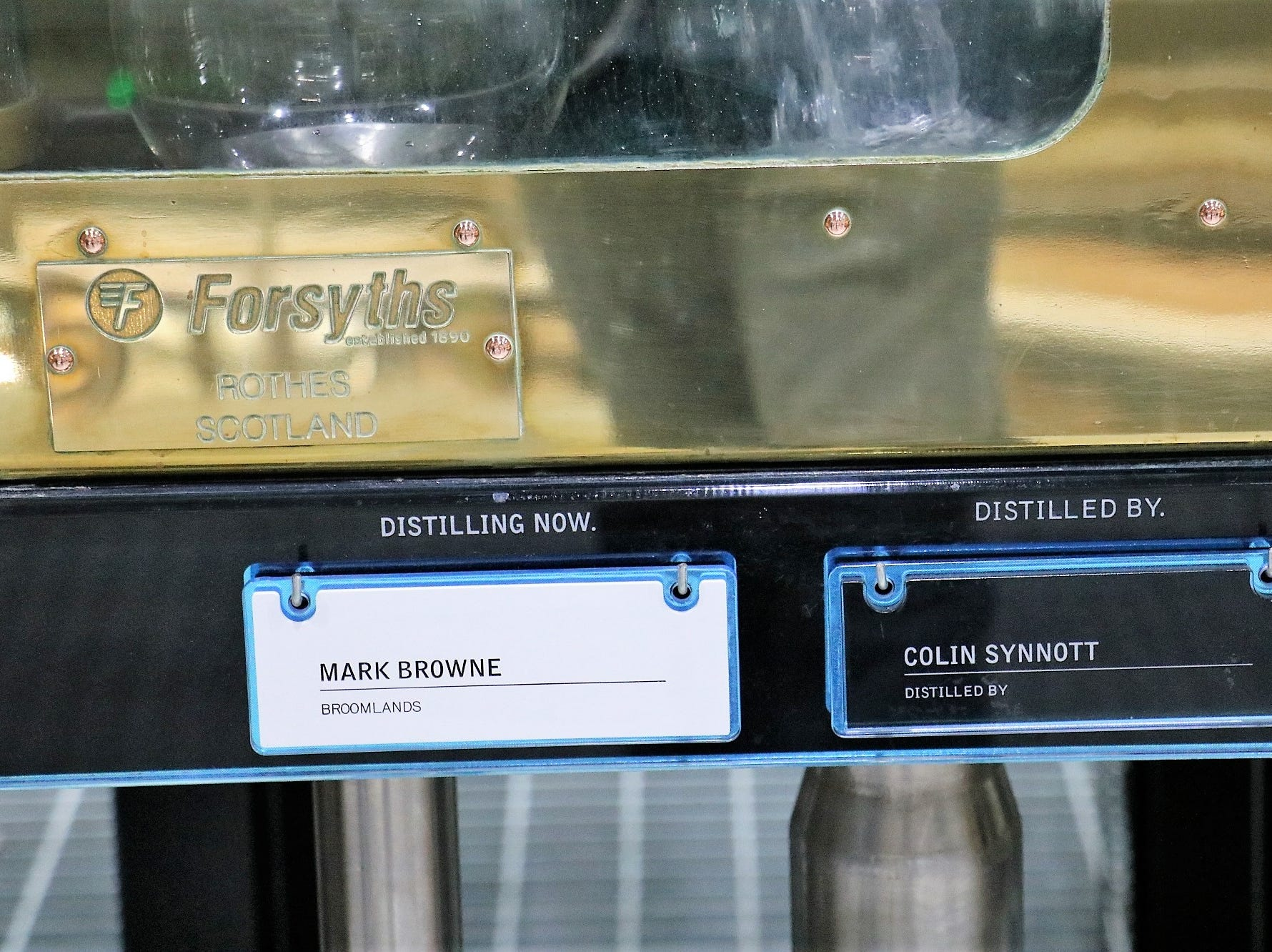 """The spirits safe uniquely shows the name of the farmer whose grain is currently being distilled. It's all a part of what distillery founder Mark Reynier refers to as """"the three T's"""": terroir, traceability and transparency."""