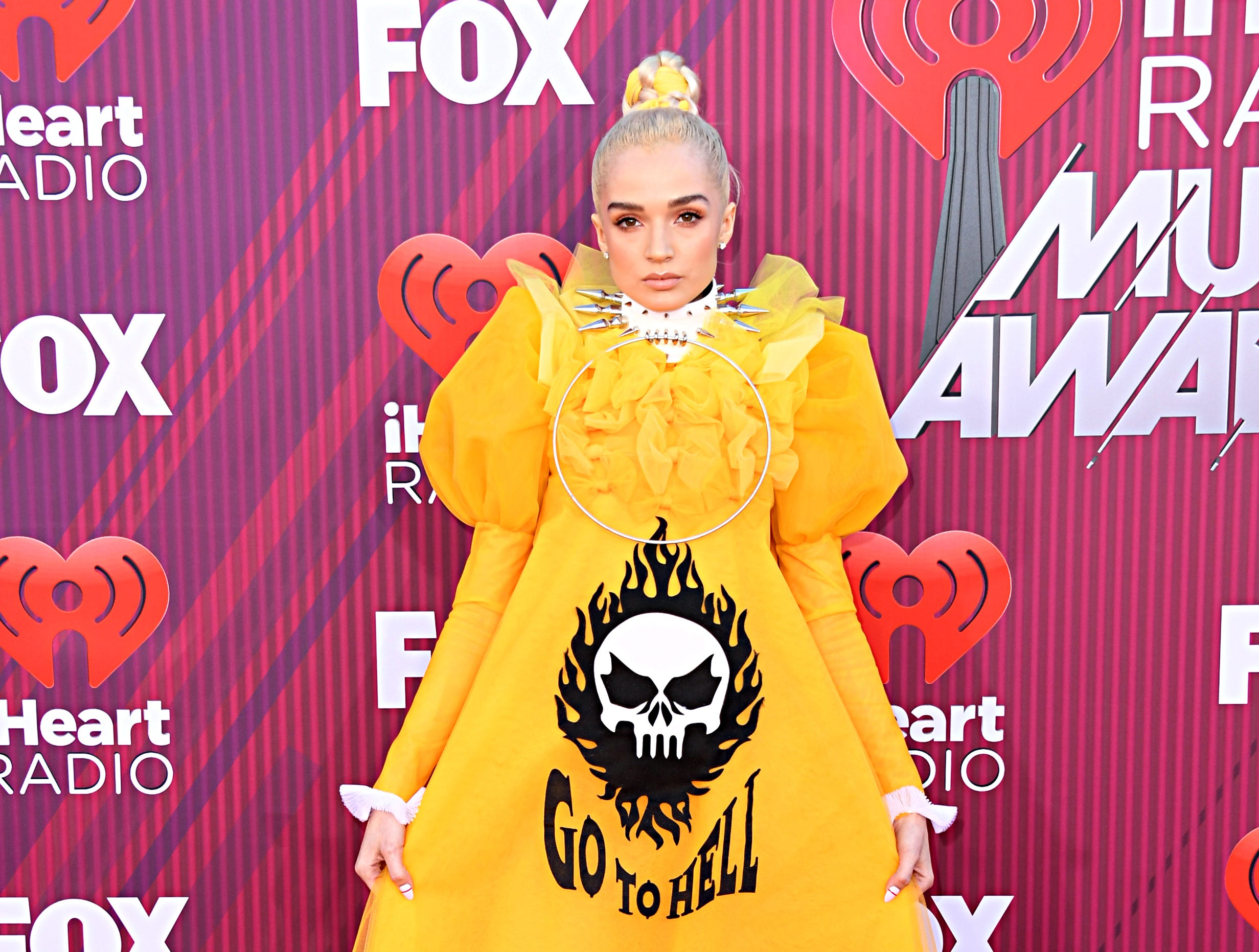 Poppy arrives at the iHeartRadio Music Awards.
