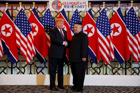 President Donald Trump and North Korean leader Kim Jong Un meet in February 2019 in Hanoi, Vietnam.