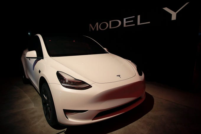 Tesla's Model Y is displayed at Tesla's design studio on Thursday, March 14, 2019, in Hawthorne, Calif.