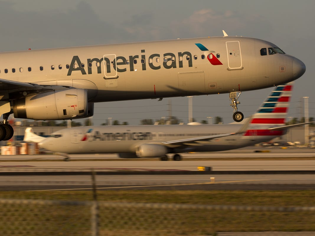 An American Airlines Airbus A321 lands at Miami International Airport on Feb. 24, 2019.