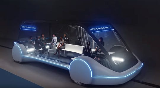 A conceptual drawing of a high-occupancy autonomous electric vehicle that would run in a tunnel between exhibition halls at the Las Vegas Convention Center proposed for Las Vegas.