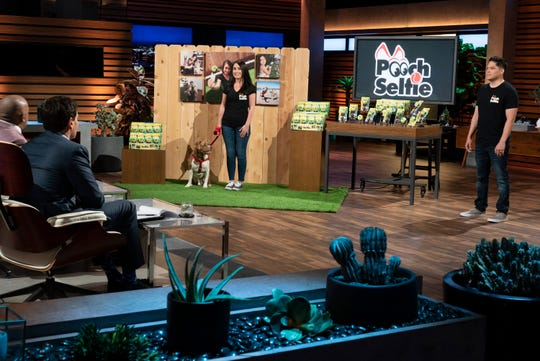 """Jason Hernandez, an entrepreneur from San Diego, California, pitches his """"Pooch Selfie,"""" which helps you capture frame-worthy pictures with your pet,  on ABC's """"Shark Tank."""""""