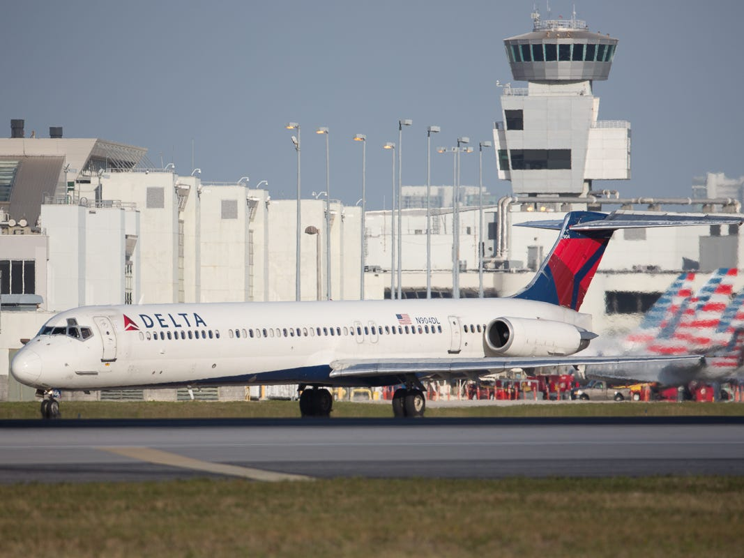 A Delta Air Lines MD-88 taxis out for departure from Miami International Airport on Feb. 23, 2019.